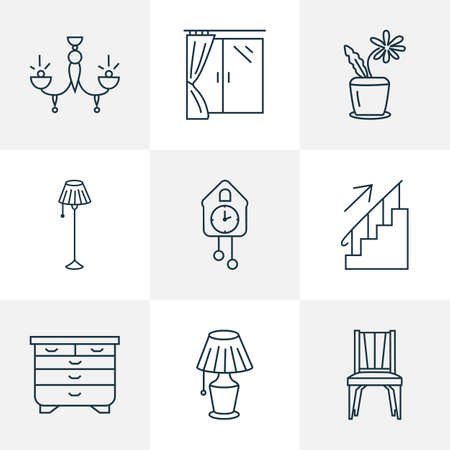 Furniture icons line style set with flower pot, chandelier, dining chair decoration