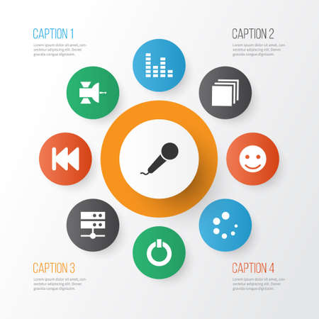 Media icons set with satellite, previous, categories and other equalizer   elements. Isolated vector illustration media icons.