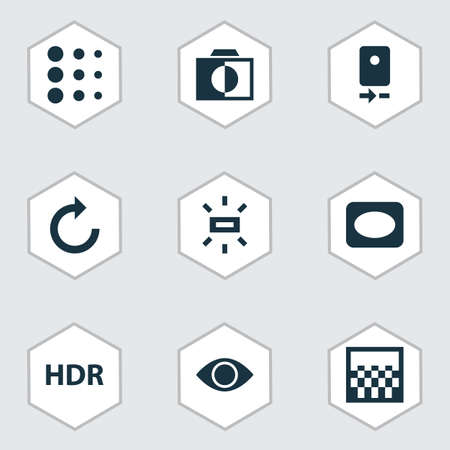 Image icons set with monochrome, vignette, remove red eye and other colorless  elements. Isolated vector illustration image icons.