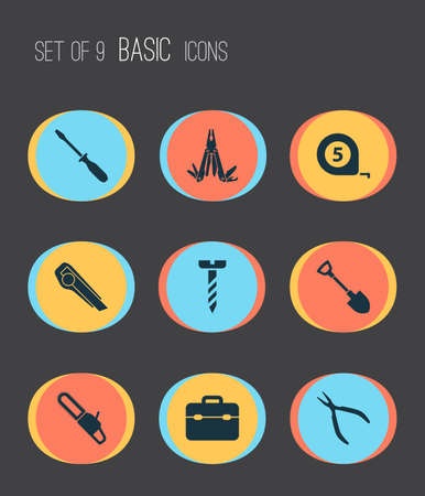 Repair icons set with clamp, toolbox, bolt and other saw