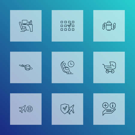 Transportation icons line style set with cancelled flight, business class, travel insurance and other help