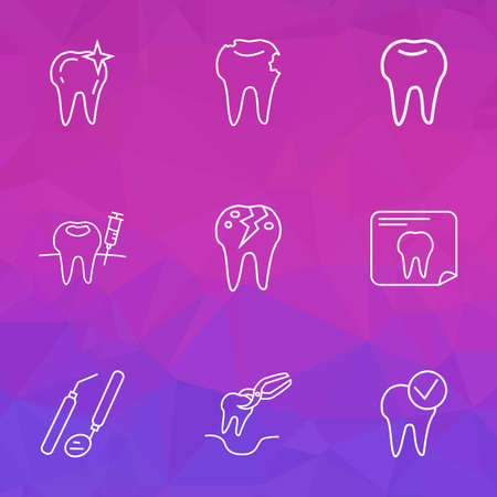 Dental icons line style set with cracked tooth, tooth extraction, tooth x-ray and other radiology  elements. Isolated  illustration dental icons.