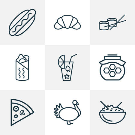 Meal icons line style set with turkey, pepperoni, smoothie and other pizza slice