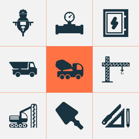 Construction icons set with electrical board, pipe with sensor, scraper and other math  elements. Isolated vector illustration construction icons.