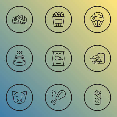 Nutrition icons line style set with pig, cupcake, waffle and other crisp