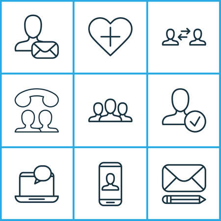 Communication icons set with communication, approv, speaking people and other society