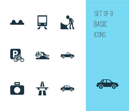 Transportation icons set with start of motorway, train, pickup and other workman   elements. Isolated vector illustration transportation icons.