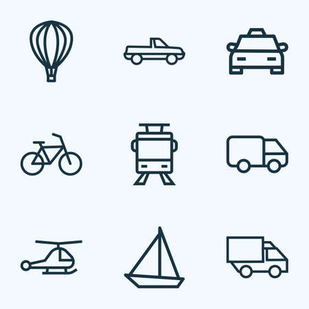 Transportation icons line style set with lorry, caravan, aerostat and other bogie