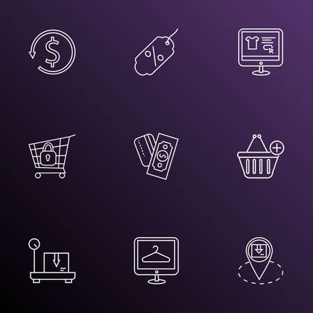 Ecommerce icons line style set with money back, discount, delivery weighing and other market