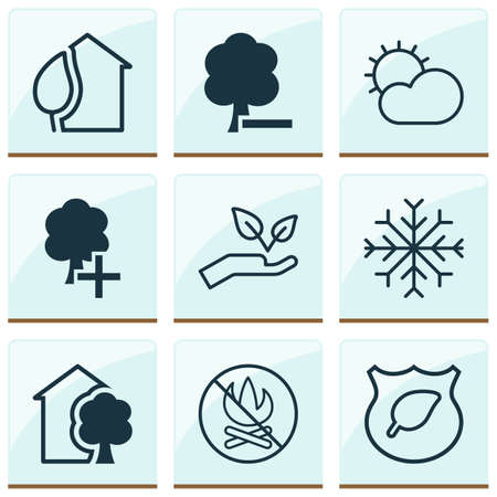 Eco icons set with eco home, protect nature, no bonfire and other delete woods elements. Isolated vector illustration eco icons.