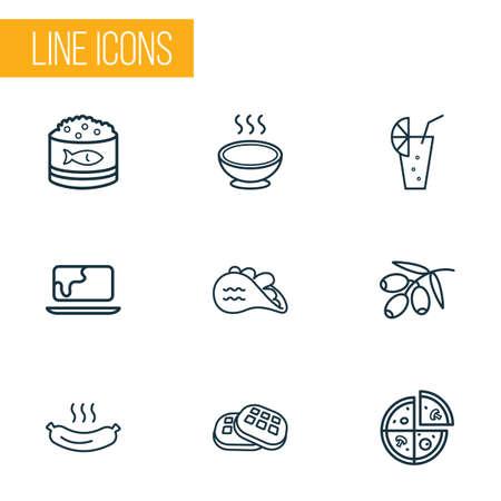 Mangiare icone stile linea impostato con pizza, ramo d'ulivo, tacos e altri elementi di uova. Illustrazione vettoriale isolato mangiare icone.