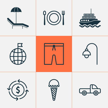 Travel icons set with swim suit, beach, ice cream and other relax chair   elements. Isolated vector illustration travel icons.