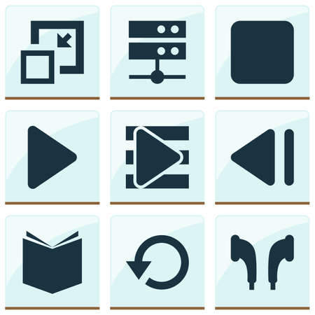 Multimedia icons set with textbook, playlist, stop and other begin