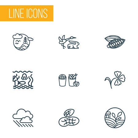 World icons line style set with eco farming, peanut, harvest and other agriculture  elements. Isolated vector illustration world icons.