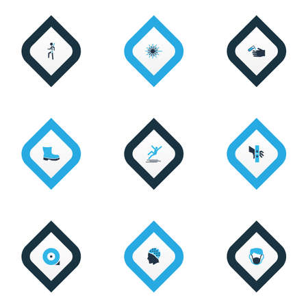 Protection icons colored set with hair protection, laser beam, corrosive chemical and other light  elements. Isolated vector illustration protection icons. Vectores