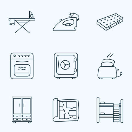 Interior icons line style set with cupboard, house plan, oven and other flatiron elements. Isolated vector illustration interior icons.
