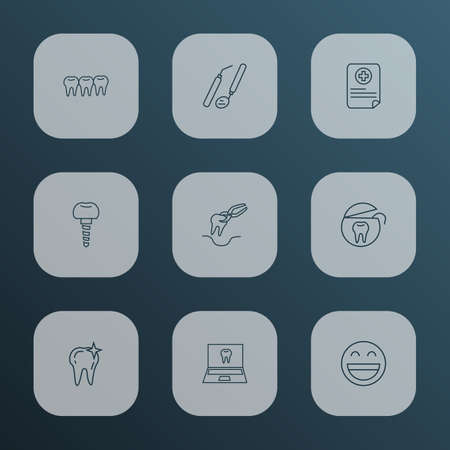 Tooth icons line style set with medical report, dental tools, smile and other denture