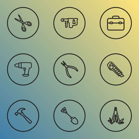 Handtools icons line style set with shovel, multi tool, scissors and other round pliers