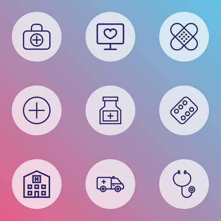Medicine icons line style set with diagnosis, bottle, sign and other building 