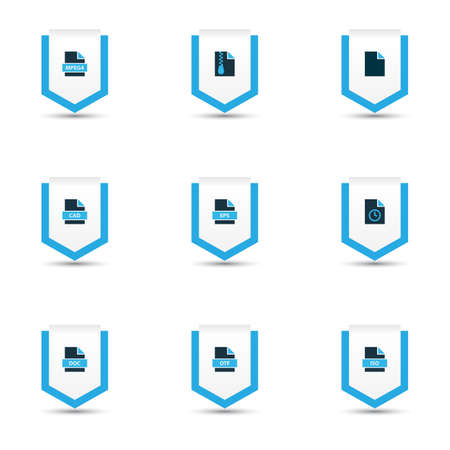 Types icons colored set with text, file cad, file archive and other zip