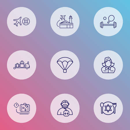 Transportation icons line style set with oxygen mask, parachute, stewardess and other airlines terminal   elements. Isolated vector illustration transportation icons.