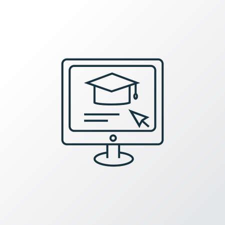 Symbole de ligne d'icône d'éducation en ligne. Élément d'apprentissage à distance isolé de qualité supérieure dans un style branché. Vecteurs