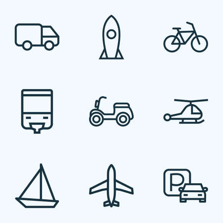 Transport icons line style set with parking, caravan, sailboat and other tram  elements. Isolated vector illustration transport icons.