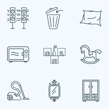 Furniture icons line style set with wall shelf, sound system, microwave and other speaker elements. Isolated vector illustration furniture icons.