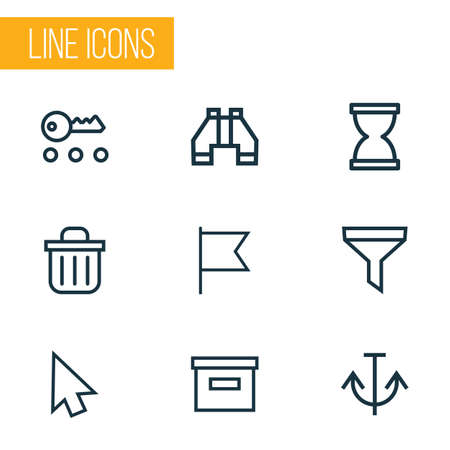 Interface icons line style set with base, strainer, armature and other archive