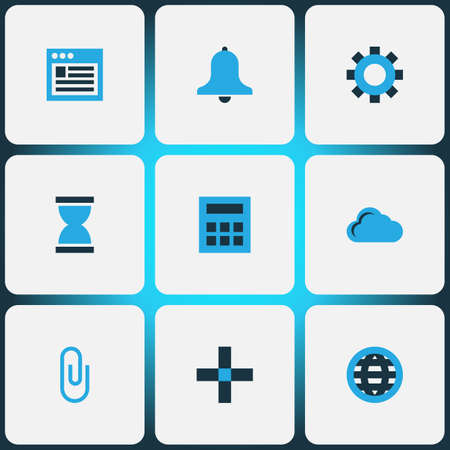 Interface icons colored set with browser, globe, cloud and other clip  elements. Isolated  illustration interface icons.