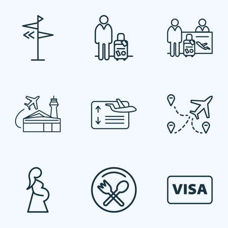 Transportation icons line style set with pregnant woman, flight board, multicities and other pregnancy