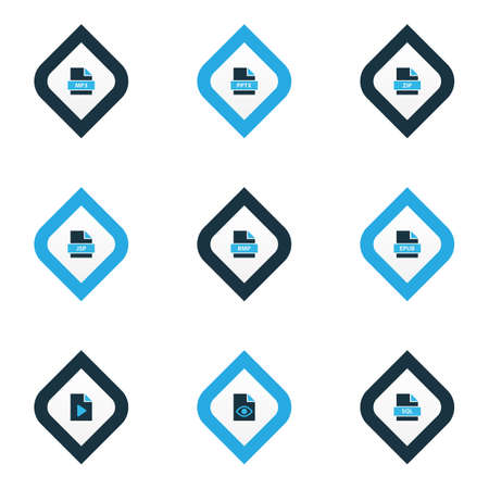 Types icons colored set with file jsp, file video, file sql and other java server  elements. Isolated vector illustration types icons.