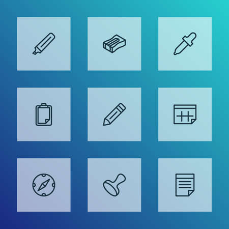 Stationary icons line style set with pen, marker, clipboard and other sharpen  elements. Isolated vector illustration stationary icons.