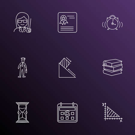 School icons line style set with alarm, female teacher, geometry and other clock  elements. Isolated vector illustration school icons. Illustration