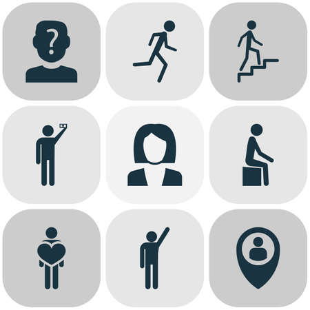 People icons set with anonymous, human, in love and other raised hand elements. Isolated vector illustration people icons.