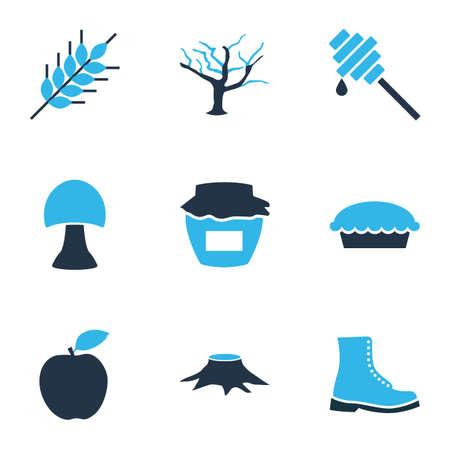 Icônes d'automne colorées avec blé, tarte aux pommes, souche et autres éléments acidulés. Icônes d'automne d'illustration vectorielle isolée. Vecteurs