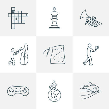 Lifestyle icons line style set with game console, chess, travelling and other joystick