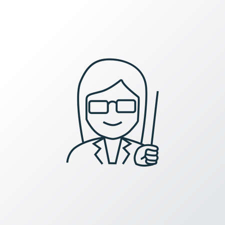 Female teacher icon line symbol. Premium quality isolated lecture element in trendy style.