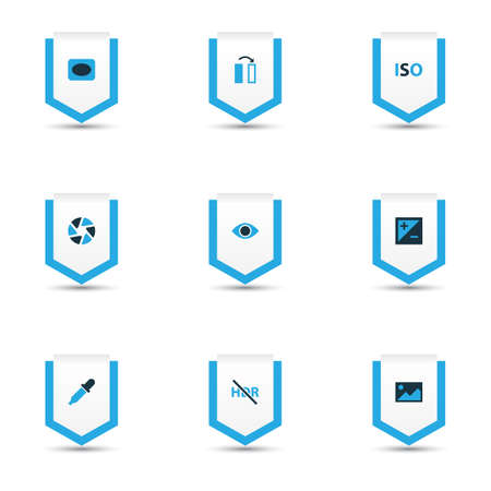 Picture icons colored set with eyedropper, exposure, high dynamic range and other eyesight   elements. Isolated vector illustration picture icons.