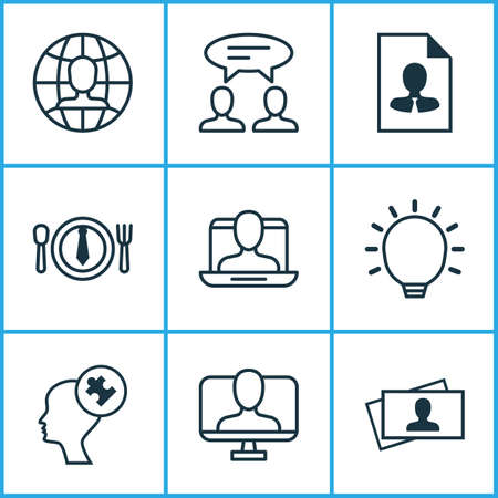 Corporate icons set with problem solving, international vacancy, resume and other great glimpse   elements. Isolated vector illustration corporate icons.