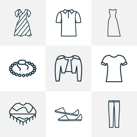 Style icons line style set with poncho, polo shirt, maxi dress and other bracelet  elements. Isolated  illustration style icons.