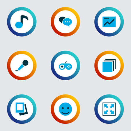 Media icons colored set with comment, musical note, emoji and other enlarge  elements. Isolated vector illustration media icons.