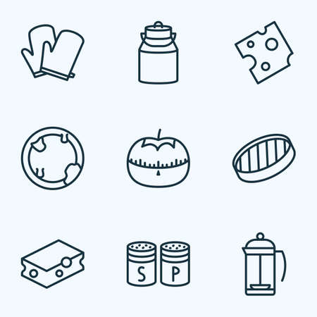 Cook icons line style set with kitchen gloves, milk can, tomato timer and other potholder elements. Isolated vector illustration cook icons.