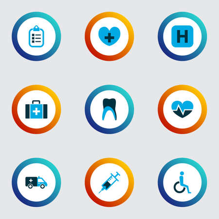 Medicine icons colored set with handicapped, checklist, pulse polyclinic helipad elements. Isolated vector illustration medicine icons.
