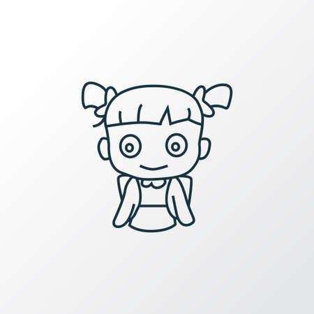School girl icon line symbol. Premium quality isolated schoolchild element in trendy style.