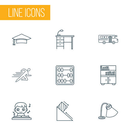 School icons line style set with book shelves, sports, graduation cap and other table light
