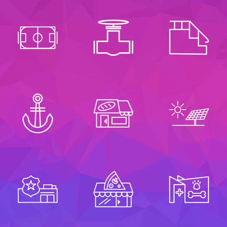 Public. Skyline icons line style set with alternative energy, stairs, veterinary and other baker shop   elements. Isolated  illustration public. Skyline icons.