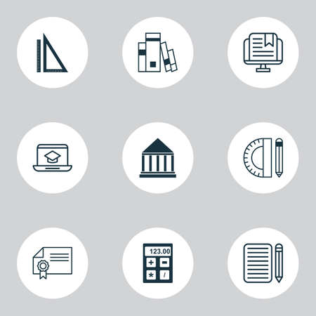 School icons set with rulers, calculator, essay writing and other e-study   elements. Isolated  illustration school icons.
