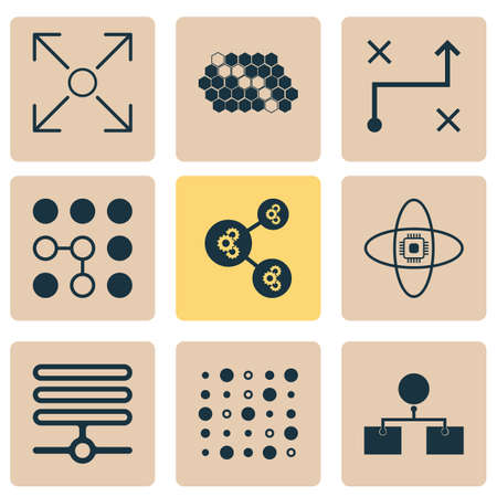 Learning icons set with database, data structure, analysis design and other analysis diagram
