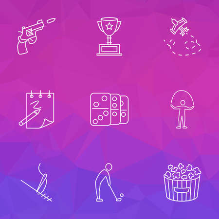 Entertainment icons line style set with golf, aeromodeling, stitching and other cinema snack  elements. Isolated vector illustration entertainment icons. Illustration